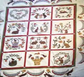 Tess's Hand Applique' Bunny Quilt, made from Bunny Hill Baltimore Bunny pattern